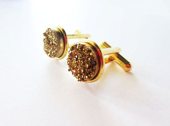 Gold druzy cuff links. Titanium druzy. Gold cuff by LittleBearsMom