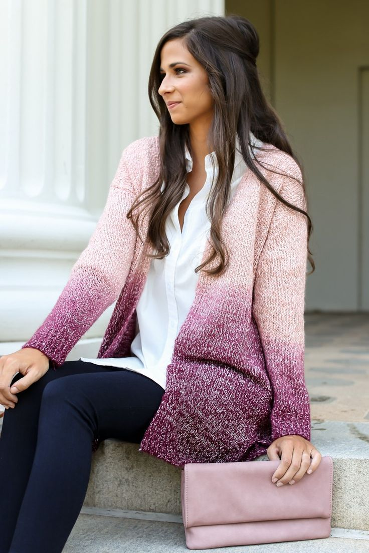 You may have Nowhere In Mind, but you'll be ready to go anywhere to show off this comfy cute Purple Ombré Knit Cardigan. We're sure it'll be appreciated wherever you go! This ombre knit cardigan features an open front, long sleeves, and slits on the sides. Model is wearing a small.  • 67% Acrylic, 33% Polyester  • Hand Wash Cold • Unlined •Sheer • Imported