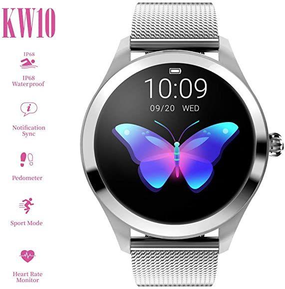 Damen Smartwatch Fitness Armband Wasserdicht IP67 Sport Uhr Tracker Bluetooth DE