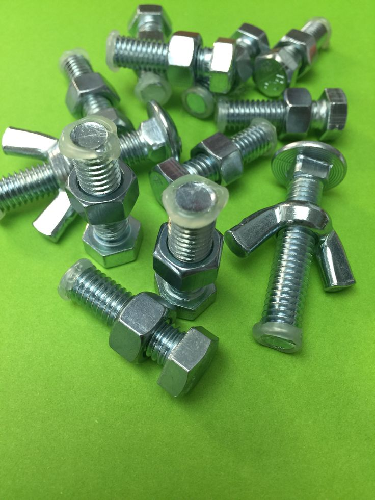 Cheap classroom fidget toys. Buy nuts and bolts from a hardware store. Cap the end with hot glue to keep the pieces together.