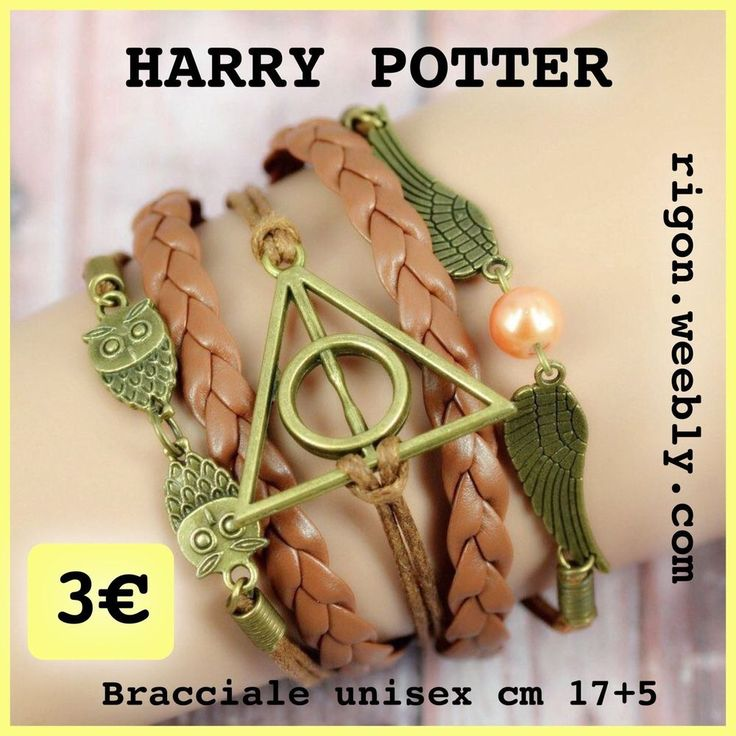 BRACCIALETTO HARRY POTTER GUFO - ALI - INFINITO MULTISTRATO MARRONE