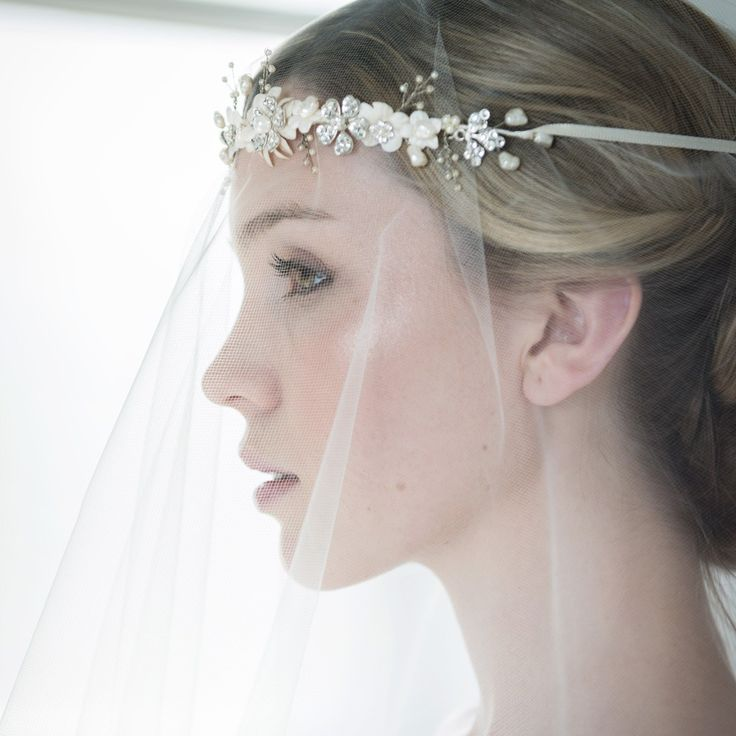 Blossom, sprigs and leaves bridal hair vine  | Crimson | Halo and Co