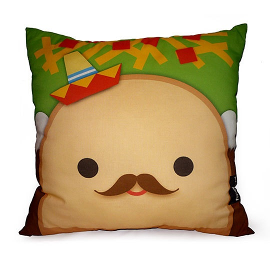 Decorative Deluxe Pillow Kawaii Toy Pillow  Señor Taco by mymimi, $28.00
