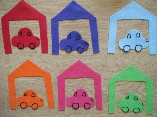 construction transportation felt board, kids put matching put dump trucks in garages and spell color words on garages for older ones. sing good night song