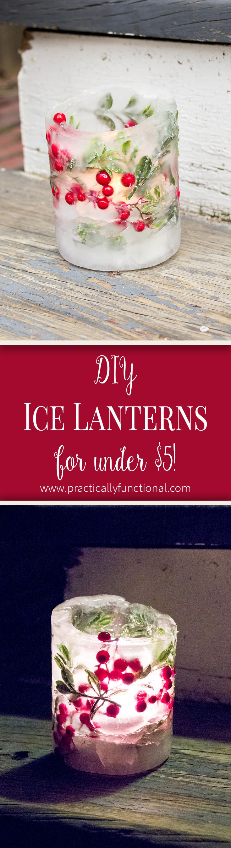 Make ice lanterns with two tin cans and faux greenery!
