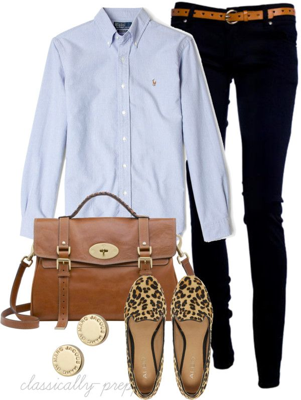 Button down, skinnies, and flats. Love this!!!!