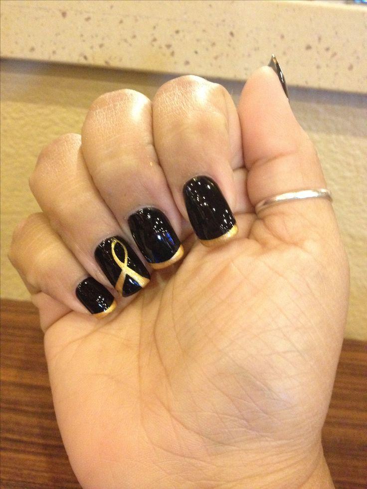 2013 Childhood cancer awareness nail.  gold ribbon Texas