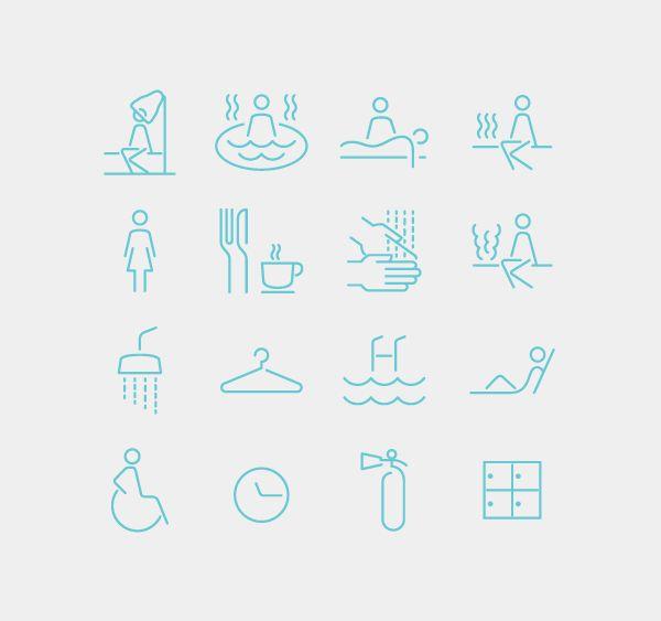 Spa Iconography System by Emech Zeinali, via Behance original idea→ http://www.fsd.it/fonts/siruca.htm