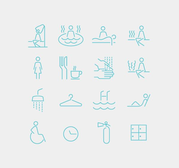 Spa Iconography System by Emech Zeinali, via Behance original idea→ http://www.fsd.it/fonts/siruca.htm