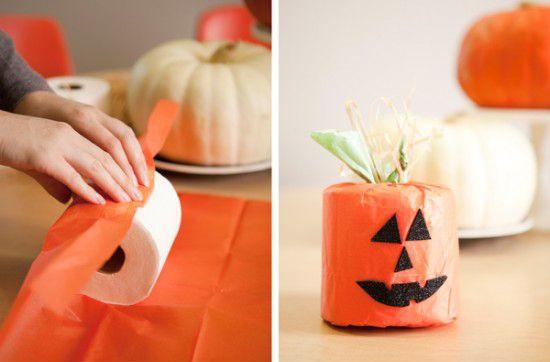 Manualidad infantil Halloween: calabazas de papel higiénico  #diy #decoracion #halloween