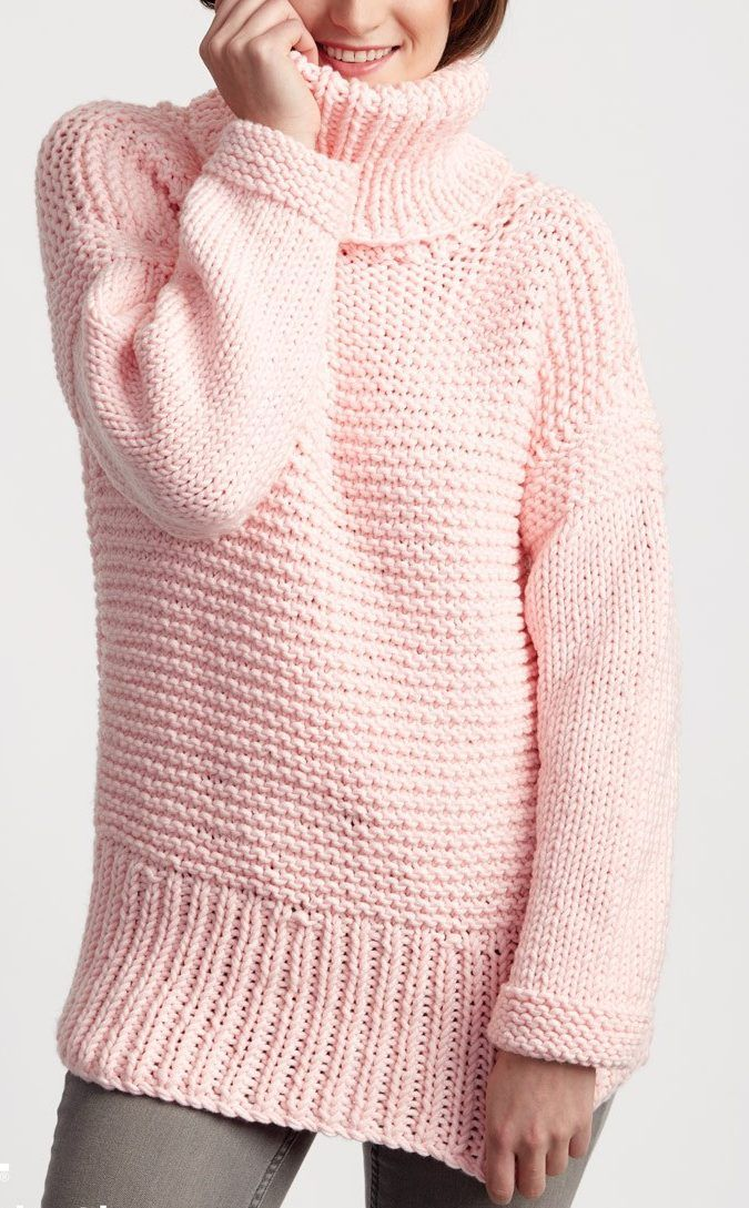 Free Knitting Pattern for Easy Big Box Pullover - Long-sleeved sweater is rated easy by the Bernat Design Team. It does require picking up a few stitches for the side of the collar. Sizes from XS to 5XL. Quick knit in super bulky yarn.