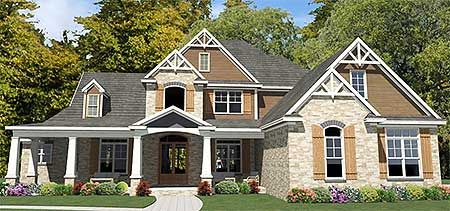 5 Bed Stone and Shingle Farmhouse - 86213HH   Country, Craftsman, Farmhouse, Northwest, 1st Floor Master Suite, Bonus Room, Butler Walk-in Pantry, CAD Available, Den-Office-Library-Study, Jack & Jill Bath, Media-Game-Home Theater, PDF, Split Bedrooms, Corner Lot   Architectural Designs