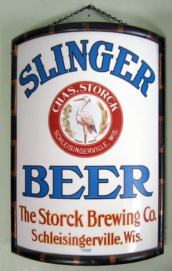 Slinger Beer Vitrolite Sign Advertising Sign