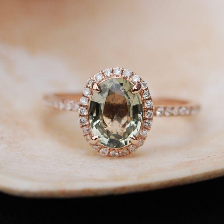 1.65ct Sparkling Green Tea sapphire ring 14k rose by EidelPrecious