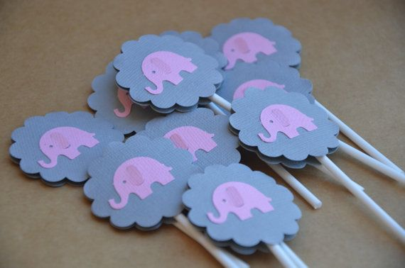 Elephant Cupcake Toppers. 12 Pink and Grey Girl Baby by FreshGifts
