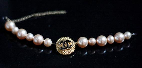 Gold Chanel Logo Button on Swarovski Glass by Bijouxhouse, $61.00