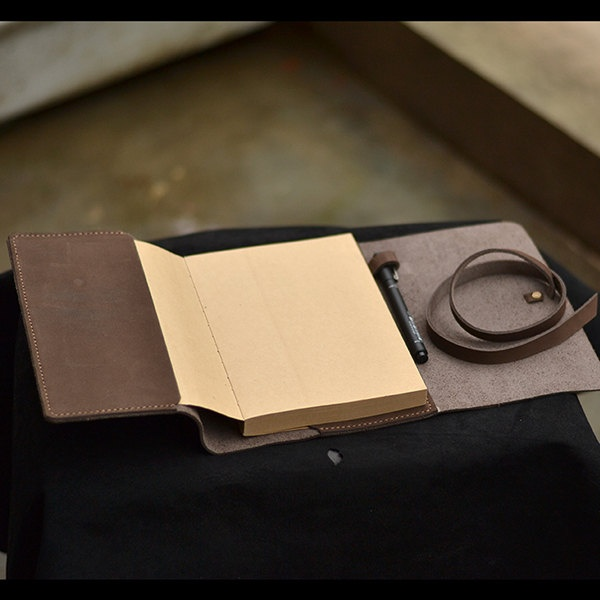Refillable leather notebook handmade