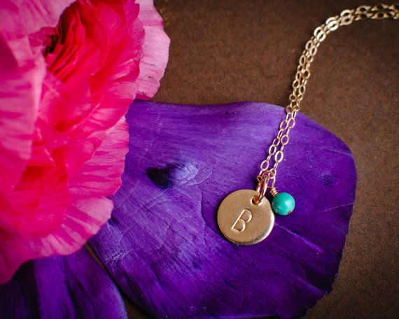 Tiny Gold Initial Necklace with Birthstone by AnoushkaDesigns