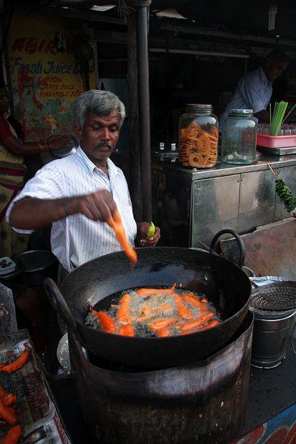 Street Food: Fried Peppers in Mamallapuram, Tamil Nadu, India