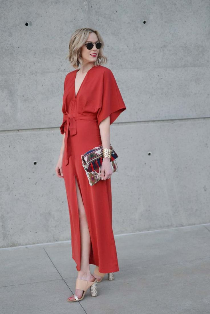 spring / summer - street style - street chic style - summer outfits - party outfits - getaway outfits - dressy outfits - red kimono wrap maxi dress + half rimmed sunglasses + nude mule sandals + tribal pattern fold over clutch