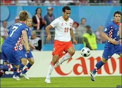 Croatia 1 Poland 0 in 2008 in Klagenfurt. Poland's Roger Guerreiro finds himself outnumbered in Group B at Euro 2008.