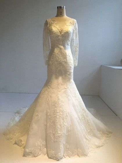 Tulle Scoop Neck Trumpet/Mermaid Court Train with Appliques Lace Wedding Dresses #UKM00022953
