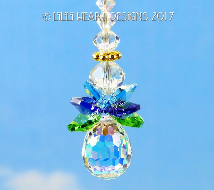 m/w Swarovski Crystal ITTY BITTY ANGEL Peacock Wings Multi Faceted Aurora Borealis Disco Drop Suncatcher Car Charm Lilli Heart Designs by LilliHeartDesigns on Etsy