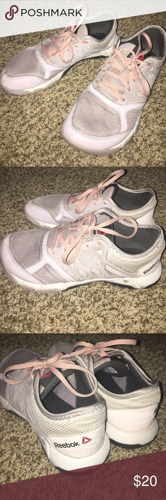 Reebok cross trainers Lavender and pink! Great for crossfit type workouts/Olympic lifting. Not ideal for long distance running. Owned for a year, some minor marks/scuffs. These cross trainers are really hard to find! Reebok Shoes Sneakers