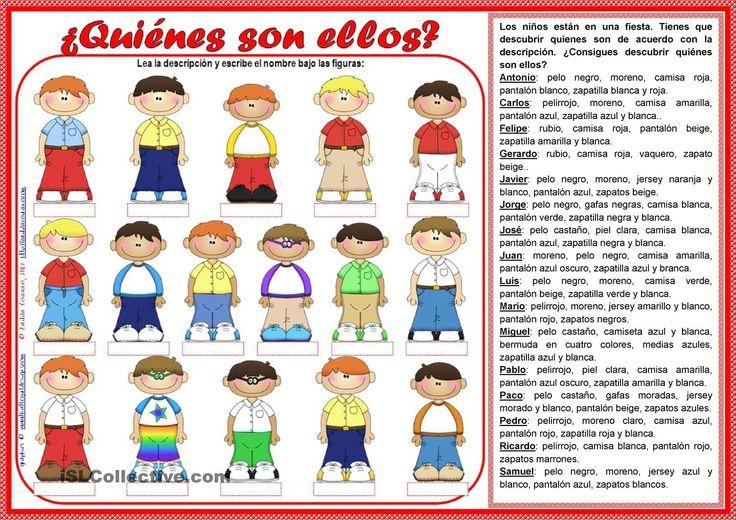 ¿Quiénes son ellos? - hoja del alumno + hoja del profesor con respuestas [2 páginas]  | Gratuito ELE  worksheets