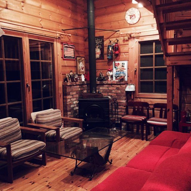 htsbaseさんの、ブリキ看板,アメリカン,ログハウス,薪ストーブ,部屋全体,のお部屋写真
