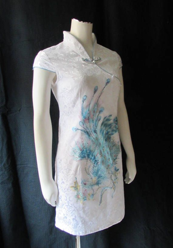 Asian Wiggle Dress form fitting spandex Chinese chic Peacock