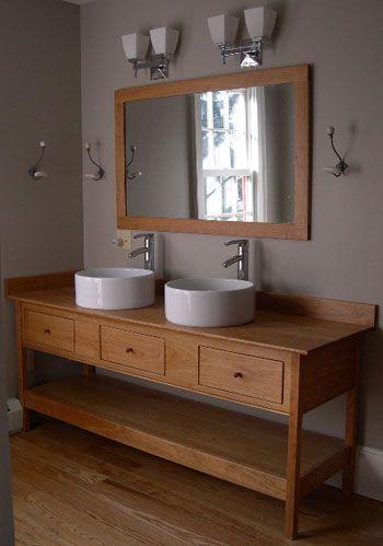 shaker style, double sinks, raised bowls   Rustic bathroom ...