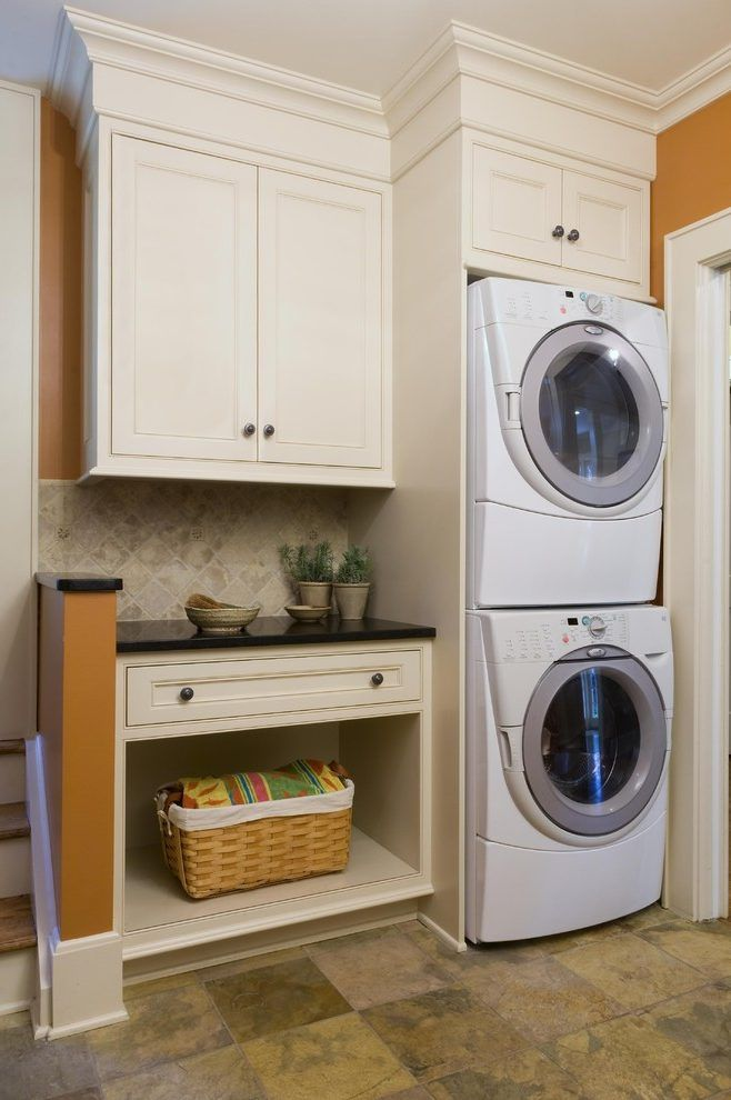 Stackable washer and laundry room contemporary with