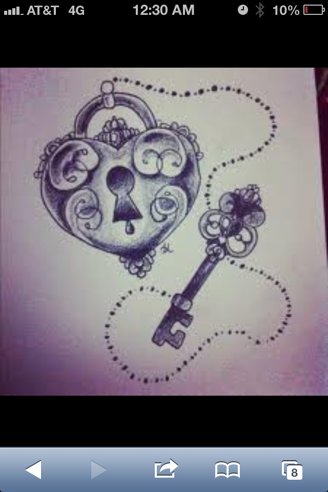 lock and key tattoo | Tattoo Ideas For Rich and I | Pinterest