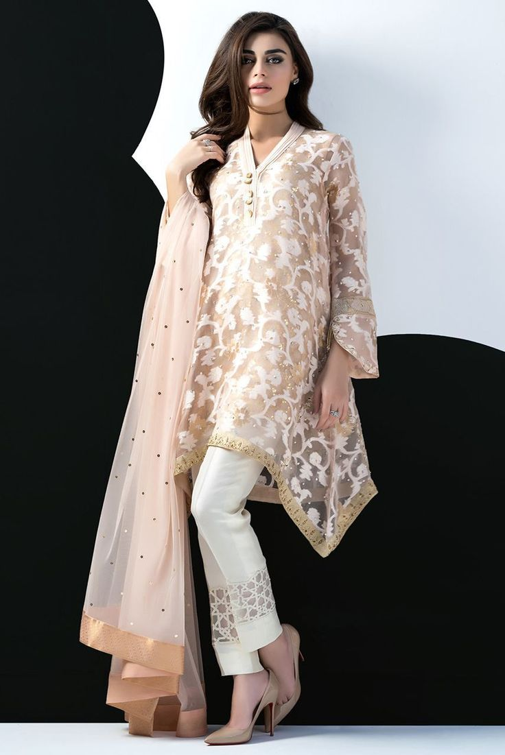 Picture of cotton net self printed asymmetric shirt eid dressespakistani dressespakistan fashiondress collectionpictures of