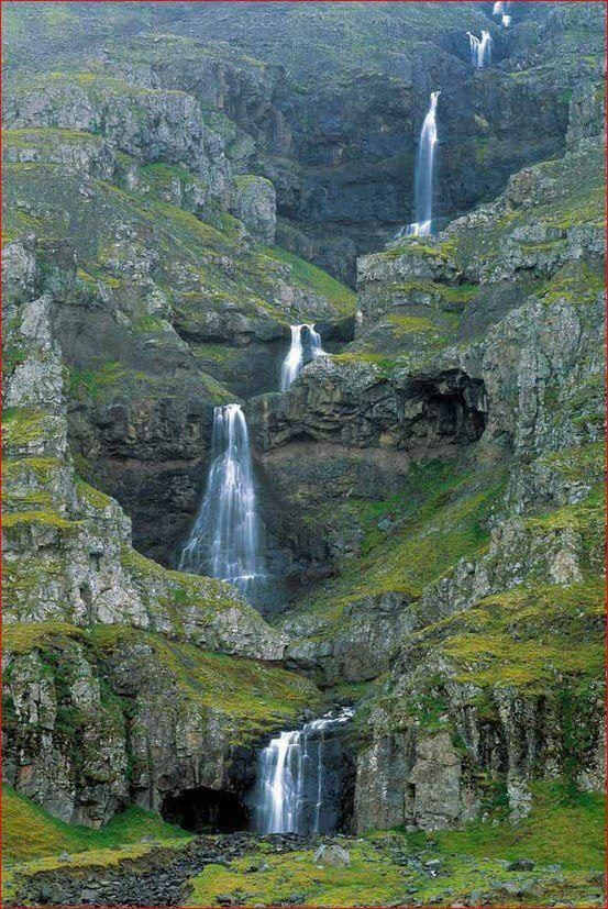 This is one of the most beautiful waterfall scenes I have seen.  It is supposed to be in Iceland, but I could not find it after a long search.  If you know the name, let me know, and you can start at the link by clicking on the picture.