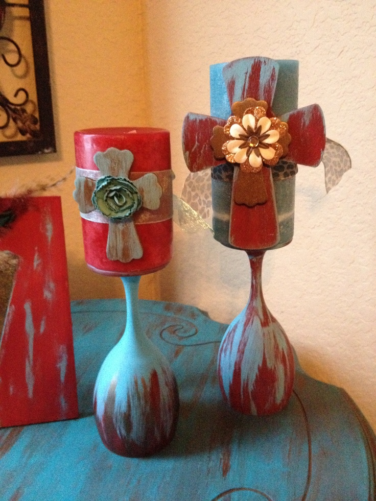 103 best decorating with wine glasses images on pinterest for Candle craft ideas