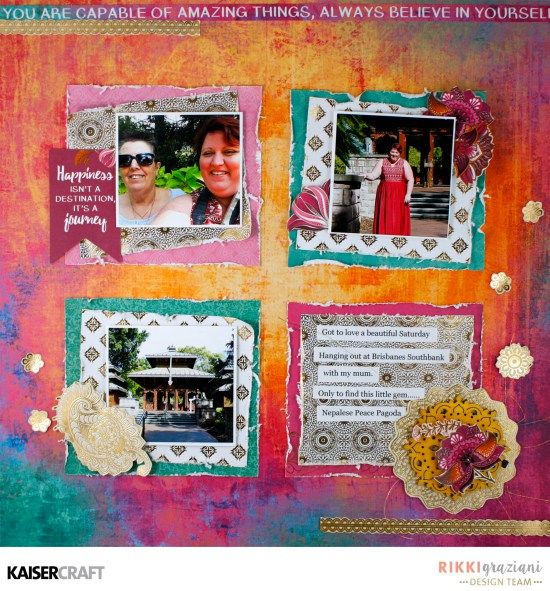 Kaisercraft Official Blog Group Post 'Happiness' Layout by Rikki Graziani Design Team member Kaisercraft Australia.. Featuring their New May 2017 collection Bombay Sunset. Learn more at kaisercraft.com.au/blog ~ Wendy Schultz ~ Scrapbook Layouts.
