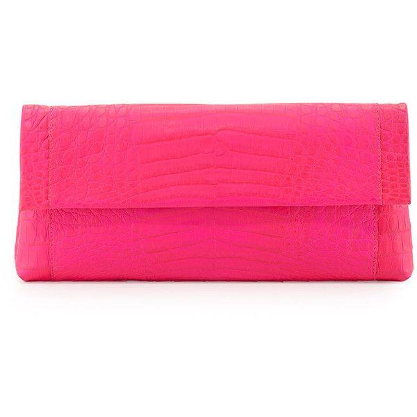 Nancy Gonzalez Crocodile Flap-Top Clutch Bag ($1,815) ❤ liked on Polyvore featuring bags, handbags, clutches, pink neon, neon handbags, pink clutches, pink handbags, croc purse and flap purse
