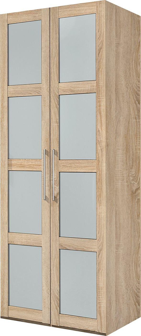 Türen in Sprossenoptik mit Milchglaseinsätzen. In 3 aktuellen Farben: struktureichefb. hell, struktureichefb. dunkel und weiß. In 5 Breiten und 2 Höhen. Oberfläche aus pflegeleichtem Kunststoff. Scharniere, Beschläge und Kleiderstangen aus Metall. Griffe aus hochglanzpoliertem Edelstahl. Alle Türen mit Dämpfung. Innendekor ahornfarben.  Maße (T/H): 60/213 bzw. 236 cm.  Ohne Beleuchtung. Mit Auf...