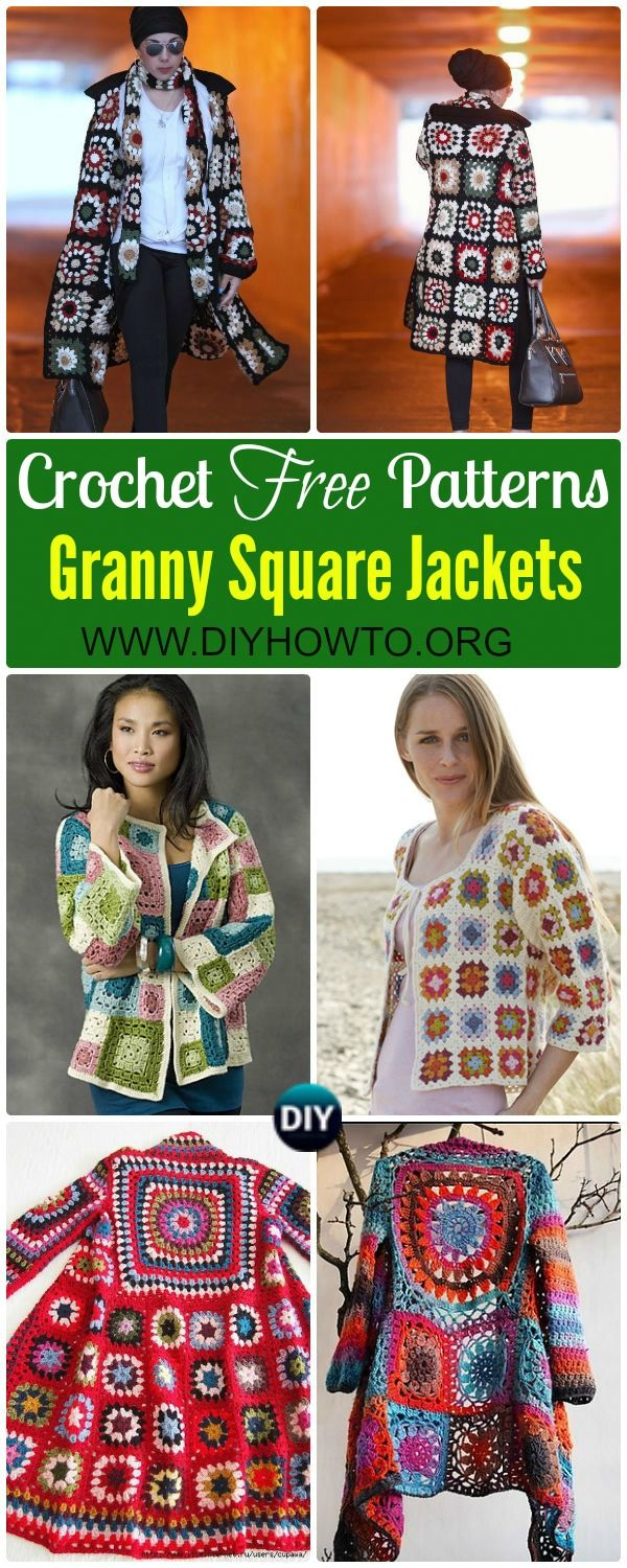 Crochet Granny Square Jacket Cardigan Free Patterns via @diyhowto #Crochet;