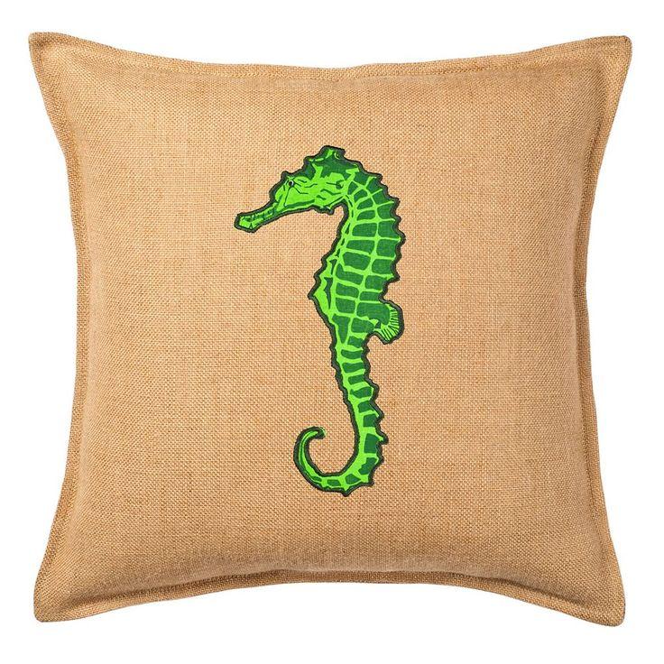 Greendale Home Fashions Seahorse Burlap Throw Pillow, Green