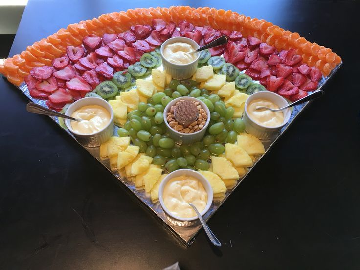 Baseball diamond fruit tray- What fraction is this piece compared to the whole circle? Estimate the fraction and percent of each kind of fruit.