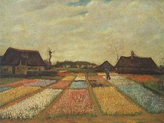 Vincent Van Gogh  Bulb Fields, 1883  Oil on canvas onpanel ,   48 x 65 cm.  Washington: National Gallery of Art    인상파 대가인 반고흐의 초기작품  초기작품이지만 전성기의 격정적인 붓터치가 조금씩 보이기도 한다.  풍경에서 받는 인상을 독특하게 표현한 초기작품이다. 하늘의 색과 다양한 꽃의 색깔이 전체적으로 아름다운 그림이다.