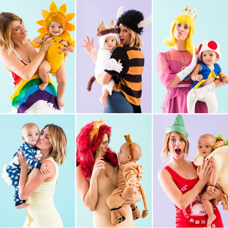 DIY one of these adorable mom and baby costumes for Halloween.