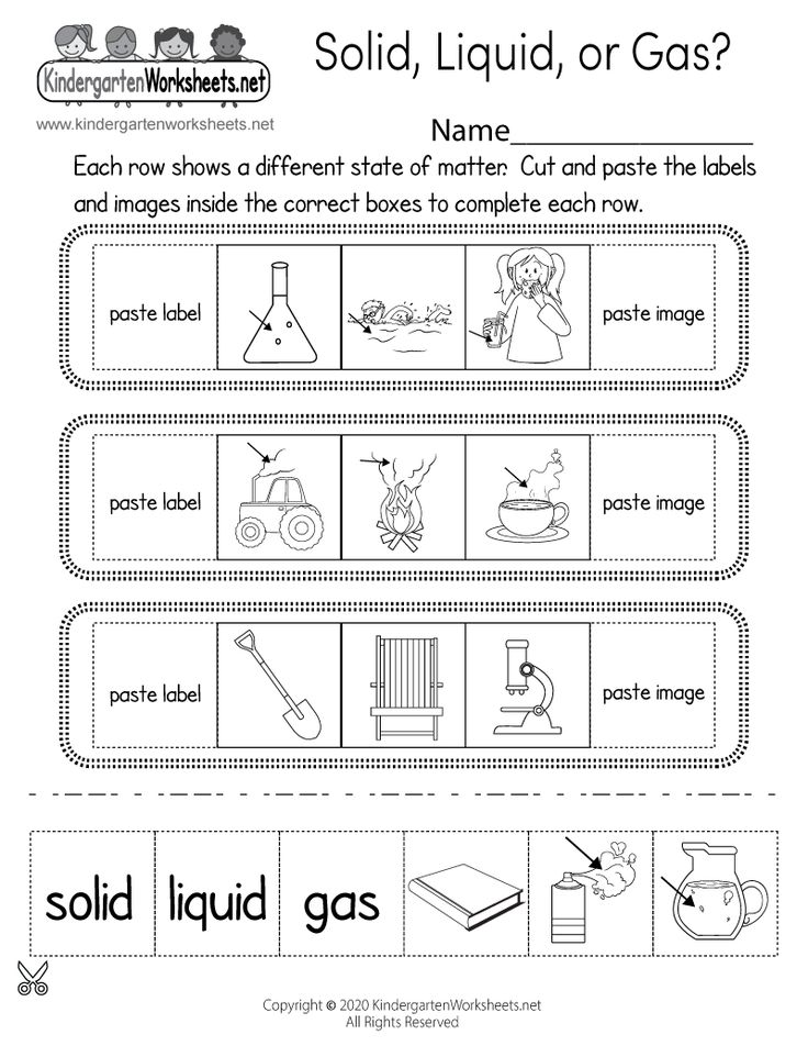 Solid, Liquid, or Gas Worksheet for Kindergarten Free