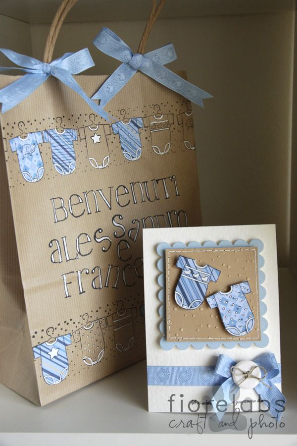 Countrypainting & Labrador: Card and package for twins