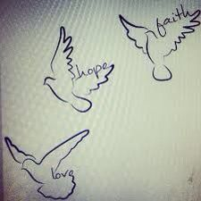Bird tattoo, faith, hope, love