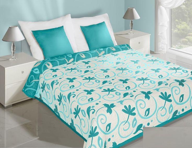Květiny oboustranné přehozy na postel krémově tyrkysové