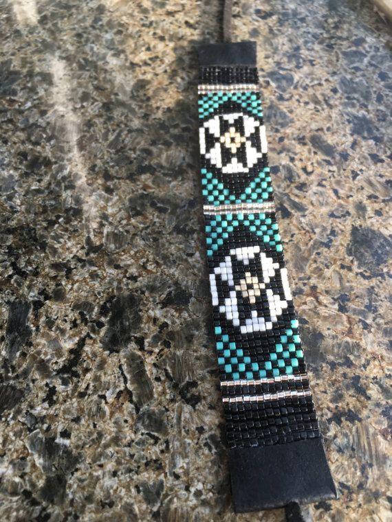 Turquoise symmetrie Bead Loom armband Boheemse Boho ambachtelijke sieraden Indiase westerse Beaded Tribal zuidwestelijke zilveren Gift leder